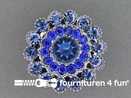 Strass stenen knoop 25mm rond blauw