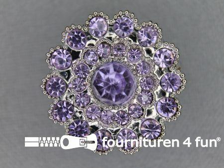Strass stenen knoop 25mm rond lila