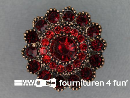 Strass stenen knoop 25mm rond bordeaux rood