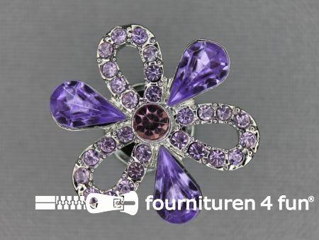 Strass stenen knoop 27mm bloem lila