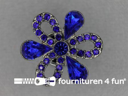 Strass stenen knoop 27mm bloem kobalt blauw