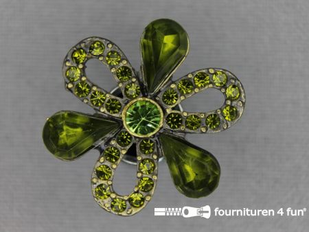 Strass stenen knoop 27mm bloem olijf groen