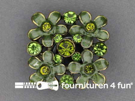 Strass stenen knoop 26mm vierkant groen
