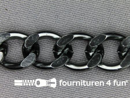 Ketting 13mm zwart zilver