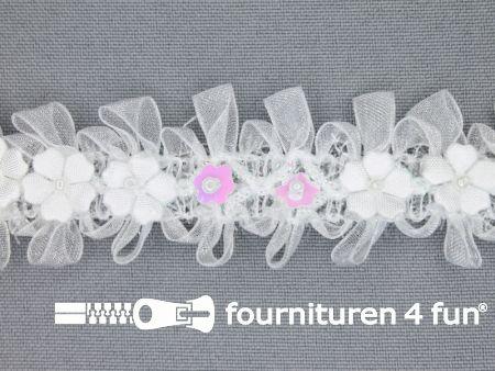 Bloemenkant 27mm wit