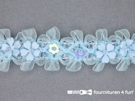 Bloemenkant 27mm licht blauw