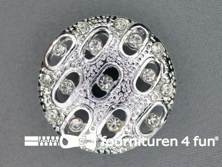 Design knoop 30mm strass zilver