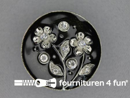 Design knoop 29mm bloem zilver