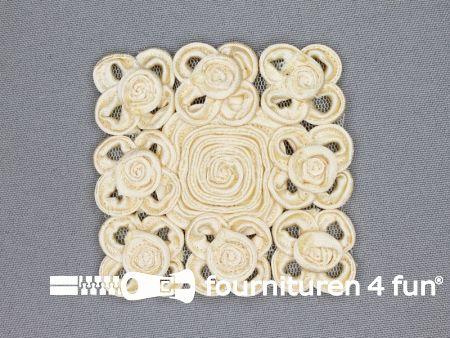 Brocante applicatie 65x65mm design licht beige