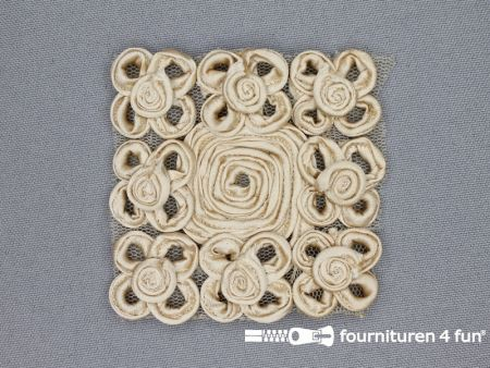 Brocante applicatie 65x65mm design donker beige