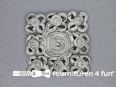 Brocante applicatie 65x65mm design grijs