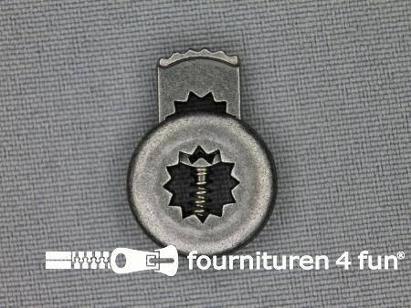 Metalen koordstopper 17mm plat metallic antraciet