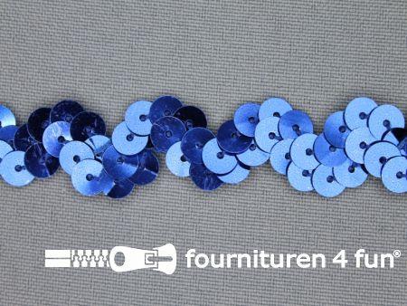 Pailletten zigzag band 15mm kobalt blauw