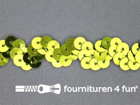 Pailletten zigzag band 15mm lime groen