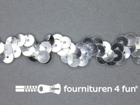 Pailletten zigzag band 15mm zilver