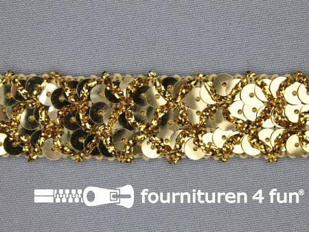 Pailletten band 20mm goud met ruitjes draad