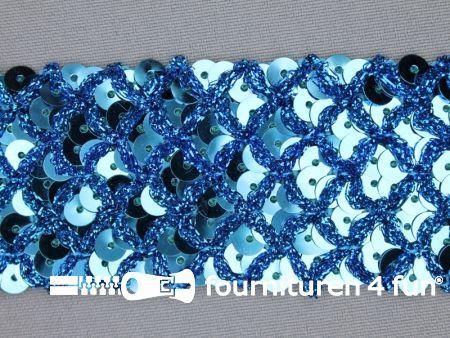 Pailletten band 40mm aqua blauw met ruitjes draad
