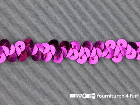 Elastische pailletten band 12mm fuchsia roze