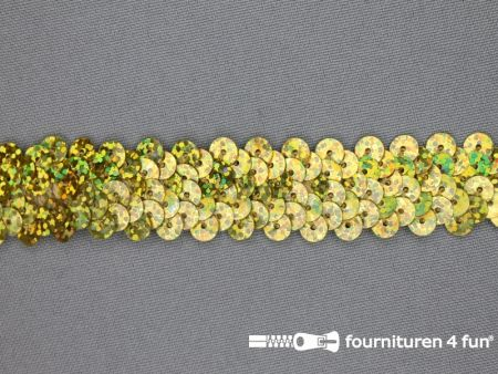 Elastische pailletten band 20mm hologram goud