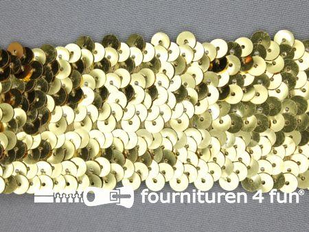 Elastische pailletten band 46mm goud