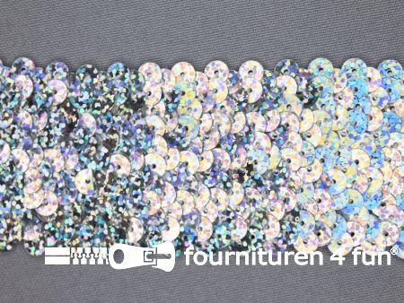 Elastische pailletten band 46mm hologram zilver