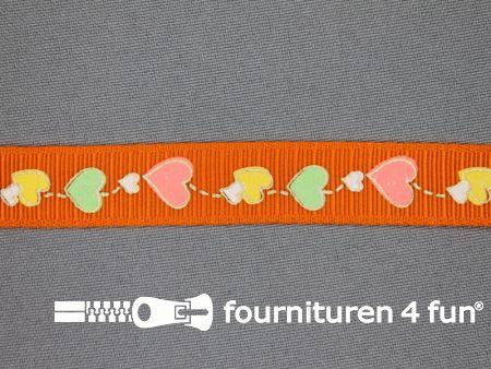 Deco lint hartjes 17mm oranje