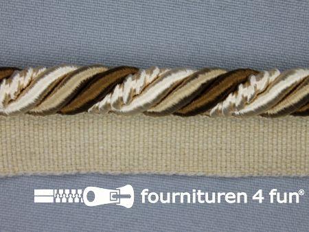 Gedraaid multicolor paspelband 23mm bruin - beige