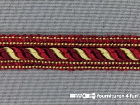 Meubel - paspelband multicolor 12mm bordeaux-goud