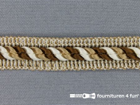 Meubel - paspelband multicolor 12mm bruin - beige