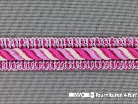 Meubel - paspelband multicolor 12mm fuchsia - roze