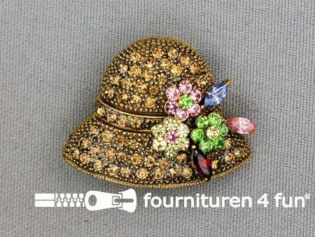 Strass corsage 34x26mm goud - hoed met bloemen