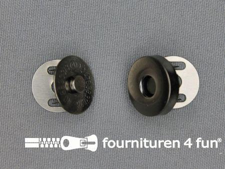 Magneet knopen 18mm buig zwart zilver per stuk