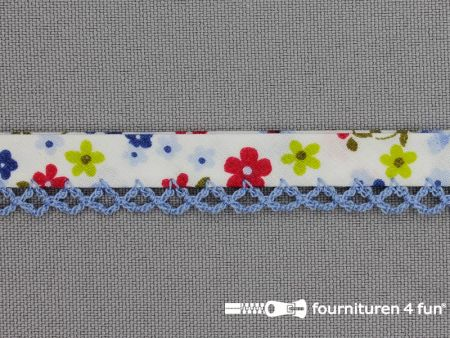 Deco biasband print 12mm bloemen jeans blauw