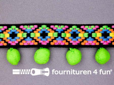 Bolletjesband 41mm neon kleuren groen