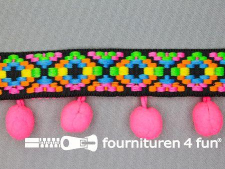 Bolletjesband 41mm neon kleuren roze