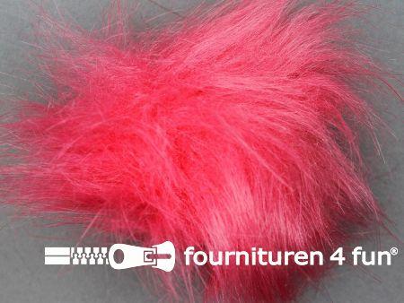 Bont pompon 8cm koraal rood