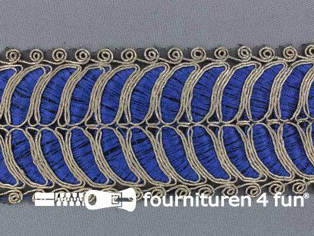 Brokaat band 55mm blauw goud