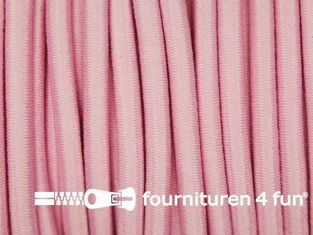 Rol 50 meter elastisch koord 3mm baby roze