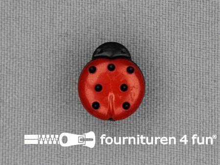 Kinderknoop lieveheersbeestje 15mm zwart rood