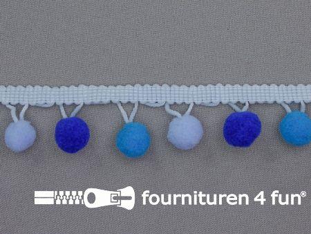 Bolletjesband 30mm multicolor aqua - kobalt - blauw