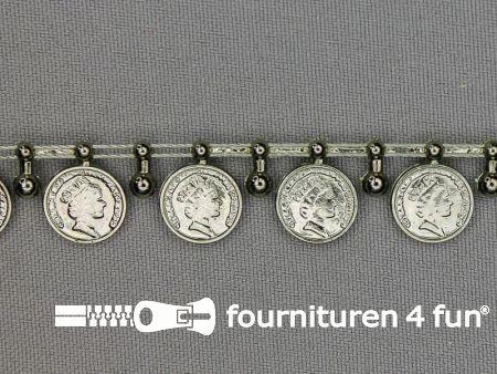 Muntenband 15mm zwart zilver