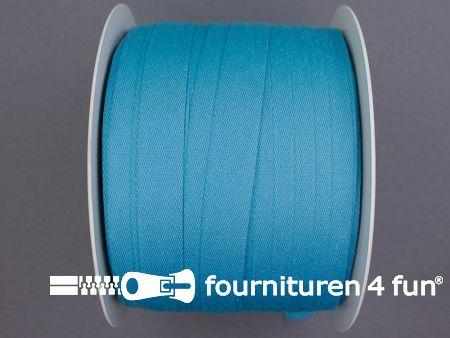 Rol 100 meter katoenen keperband 14mm aqua blauw