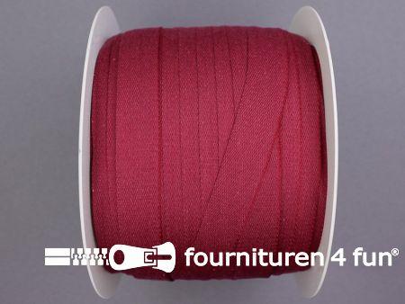 Rol 100 meter katoenen keperband 14mm bordeaux
