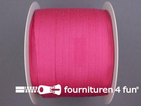 Rol 100 meter katoenen keperband 14mm fuchsia