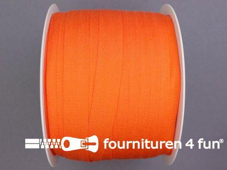 Rol 100 meter katoenen keperband 14mm oranje