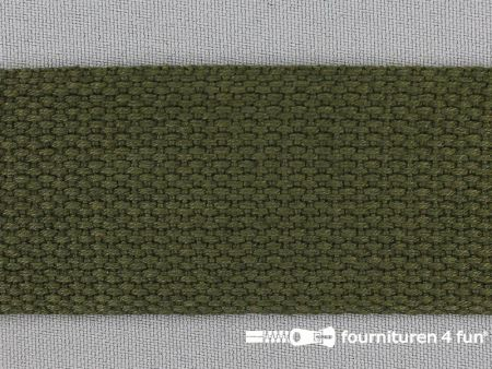 Katoen-look tassenband 38mm jagers groen