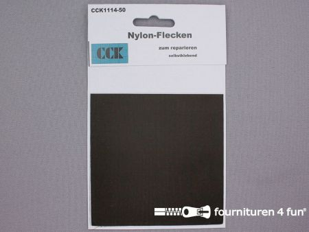 Zelfklevend nylon reparatiedoek 10x20cm donker bruin